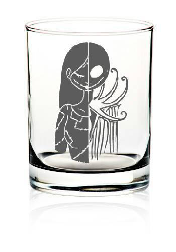 Jack and sally scotch glasses
